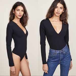Free people black v neck body suit